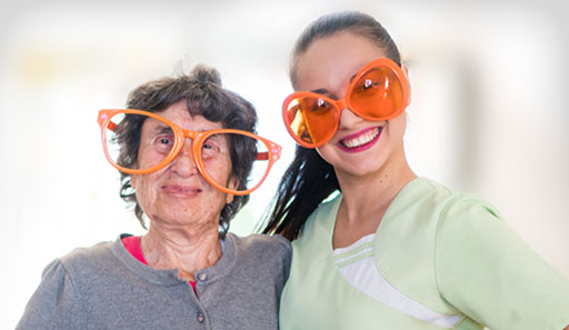 Patient and Caregiver with glasses on
